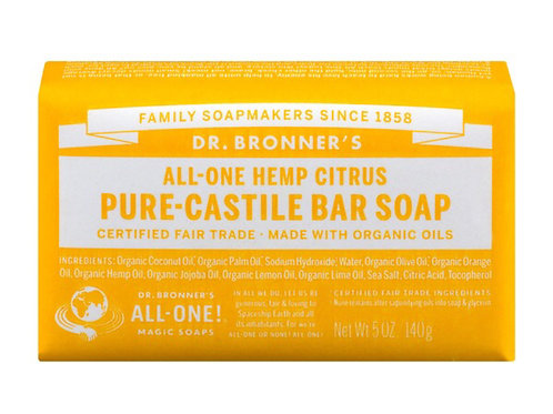 Dr Bronner's All-one Hemp Citrus Pure-Castile Bar Soap 5oz