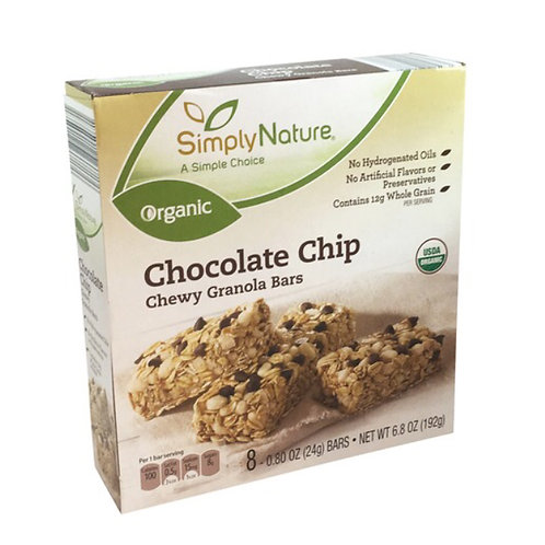 Simply Nature Organic Chocolate Chip Chewy Granola Bars single 24g bars