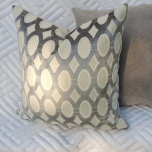 Grey and Cream Throw Pillow