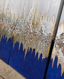 custom canvas art glitter blue gray stones