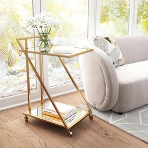 Alto Gold & Mirrored Bar Cart