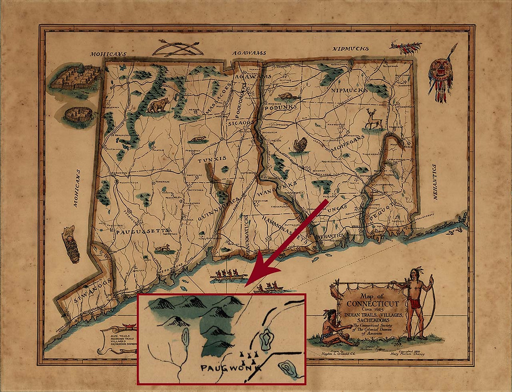 Map of Native American Tribes of Connecticut c. 1625