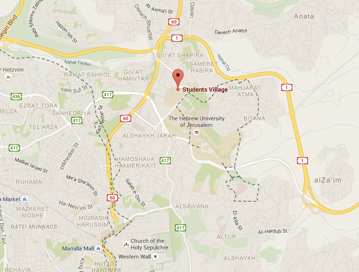 map of Hebrew University of Jerusalem