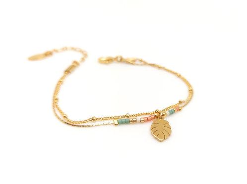 Bracelet double chaîne Candy, feuille de monstera