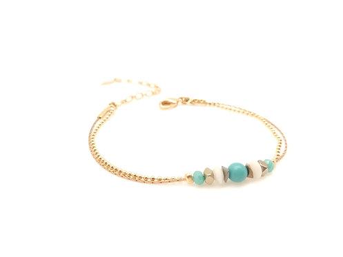 Bracelet double doré et turquoise.