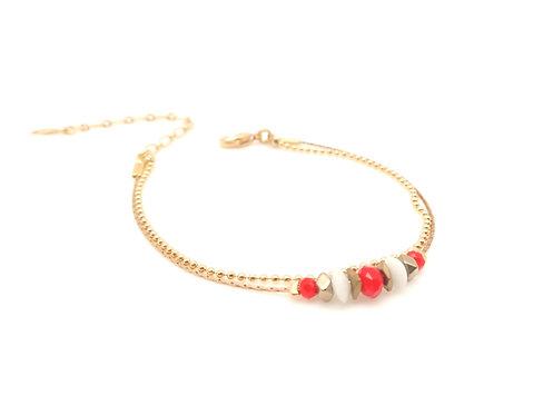 Bracelet double doré et corail.