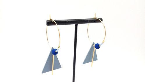 Créoles triangle mat, bleues.