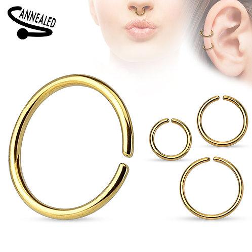 Gold Titanium Nose Hoop 20g 3/8