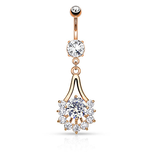 Rose Gold Plated Paved CZ Fan