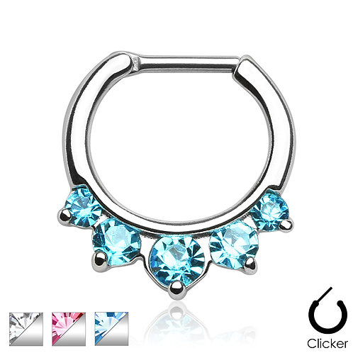 Five Pronged CZs 316L Surgical Steel Septum Clicker 16g 5/16