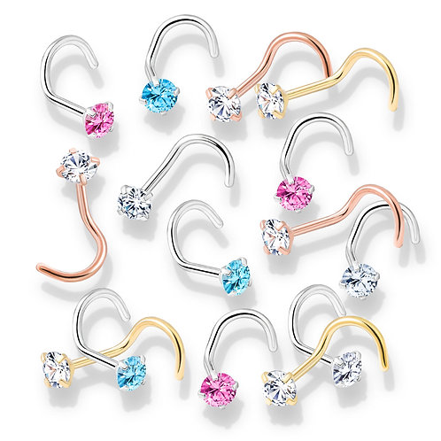 Prong Set Round CZ Top PVD over 316L Surgical Steel Nose Screw 20g 1/4