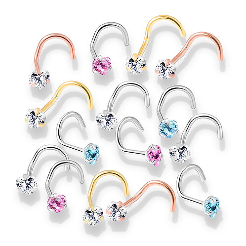 Prong Set Heart CZ Top PVD over 316L Surgical Steel Nose Screw 20g 1/4