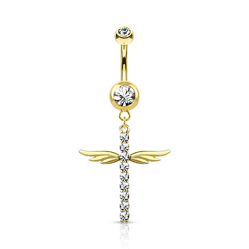 14k Gold Plated Paved Cross with Wings