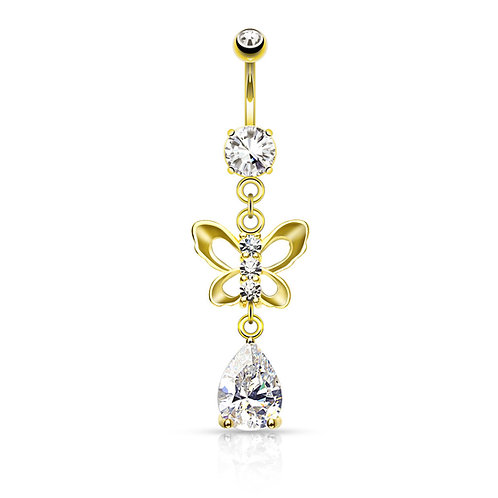 14k Gold Plated Paved Butterfly with Pear CZ