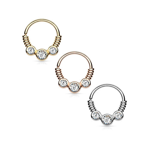 3 CZ Set Between Coiled Wire Bendable Hoop Ring 16g 5/16