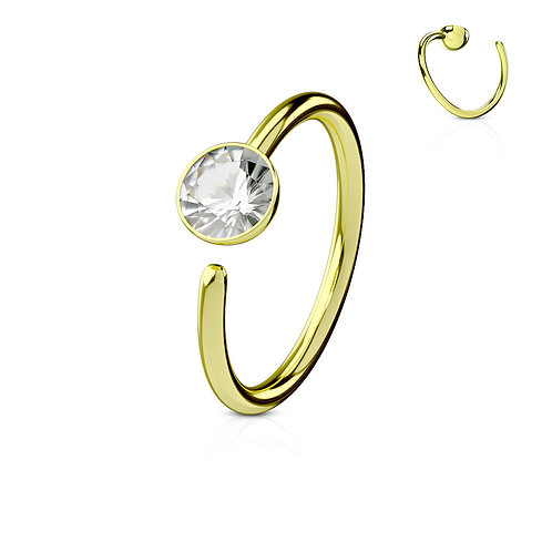Gold Plated with Clear CZ Nose Hoop 20g 5/16