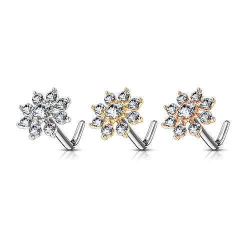 Double Tiered CZ Starburst Top 316L Surgical Steel L Bend Nose Stud 20g 1/4