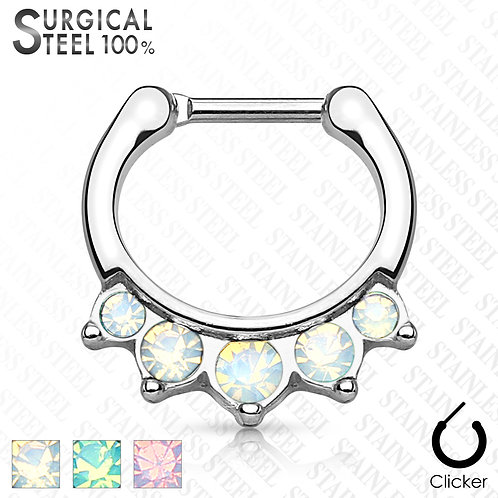 Five Opalite Hanging Set 100% Surgical Steel Septum Clicker 16g 5/16