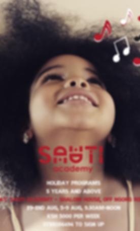 Holiday Programs 5 years and above Sauti