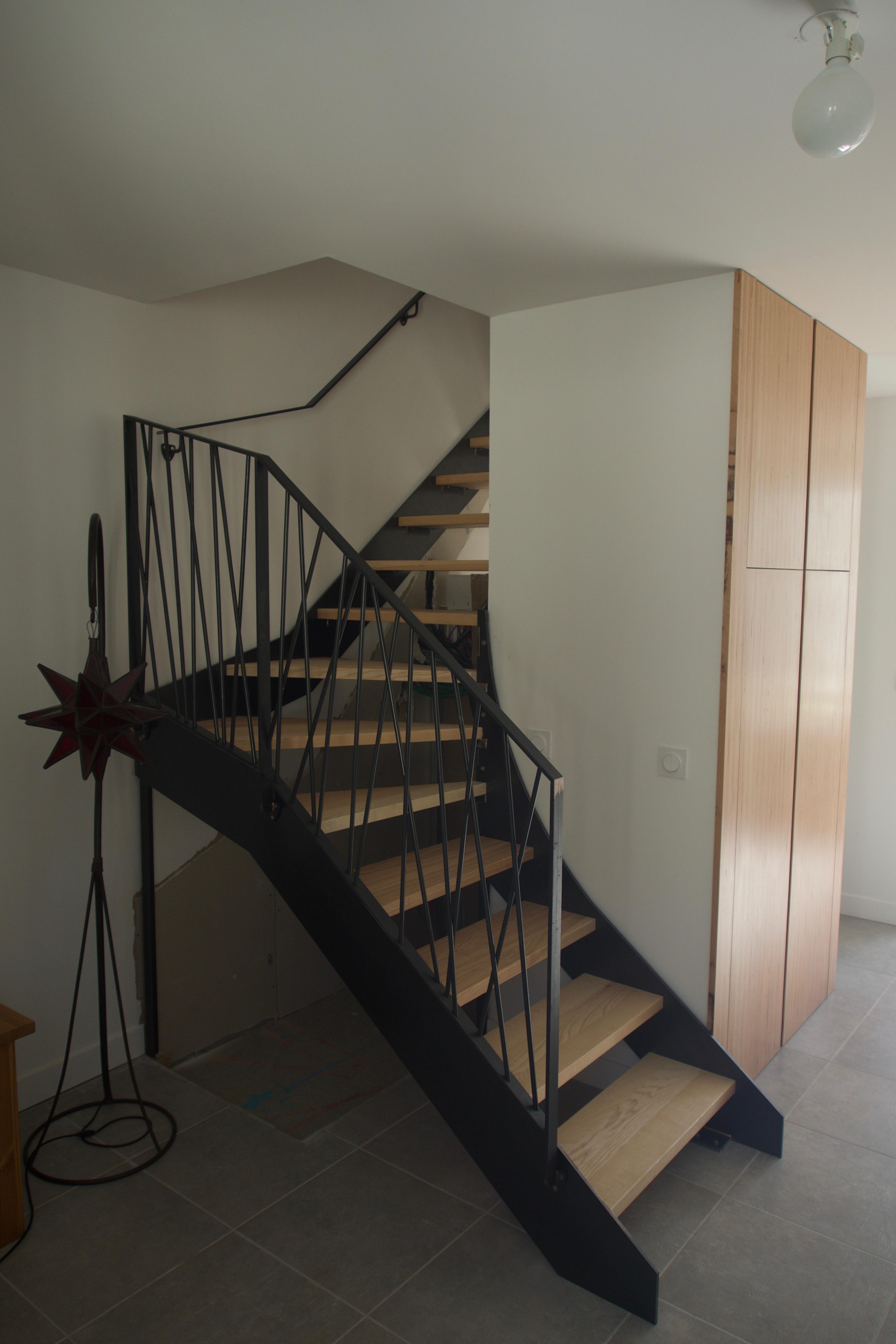 Escalier 1/4 tournant (Bois, Métal)