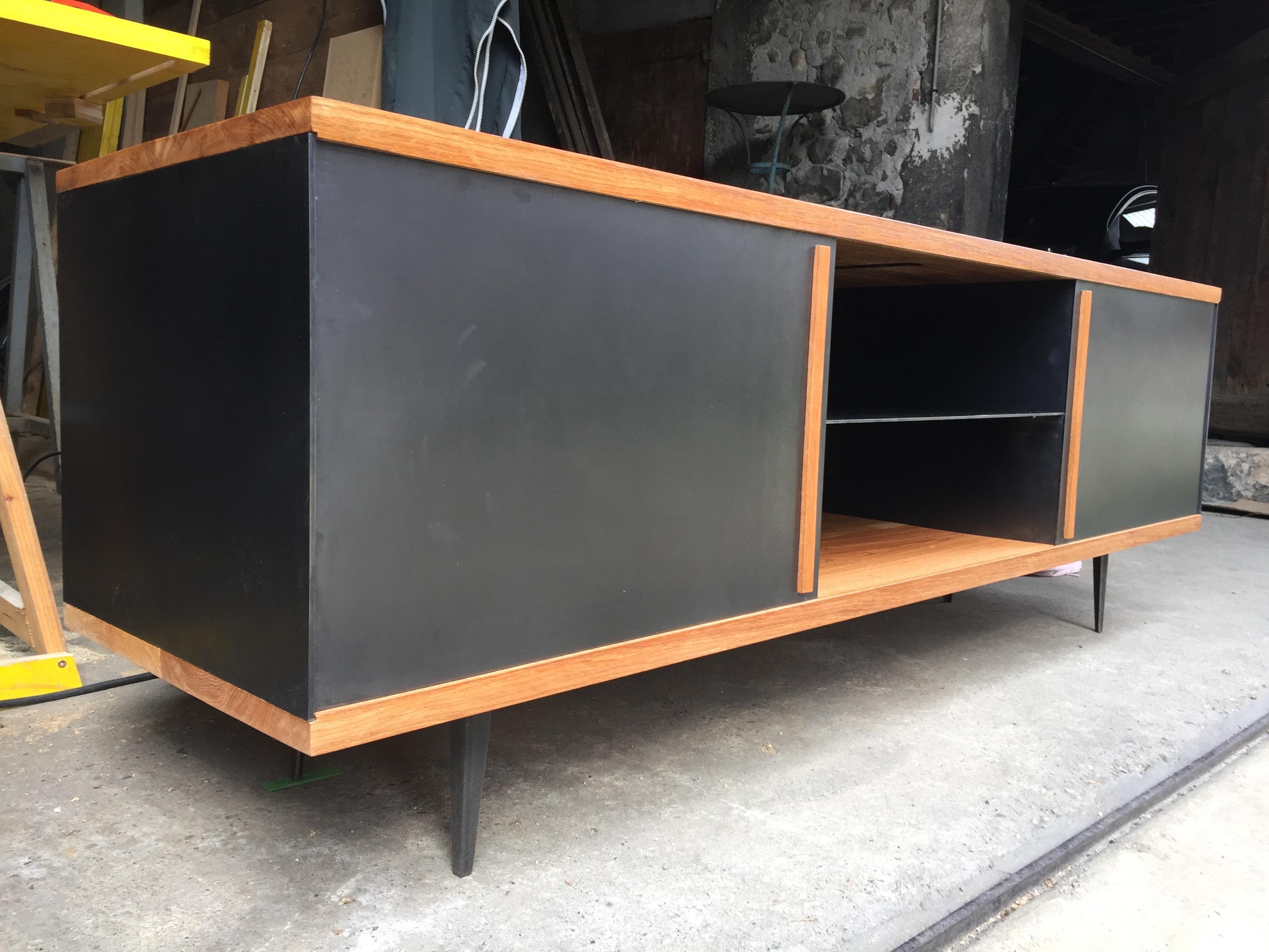 Meuble TV (Métal & Chêne massif)