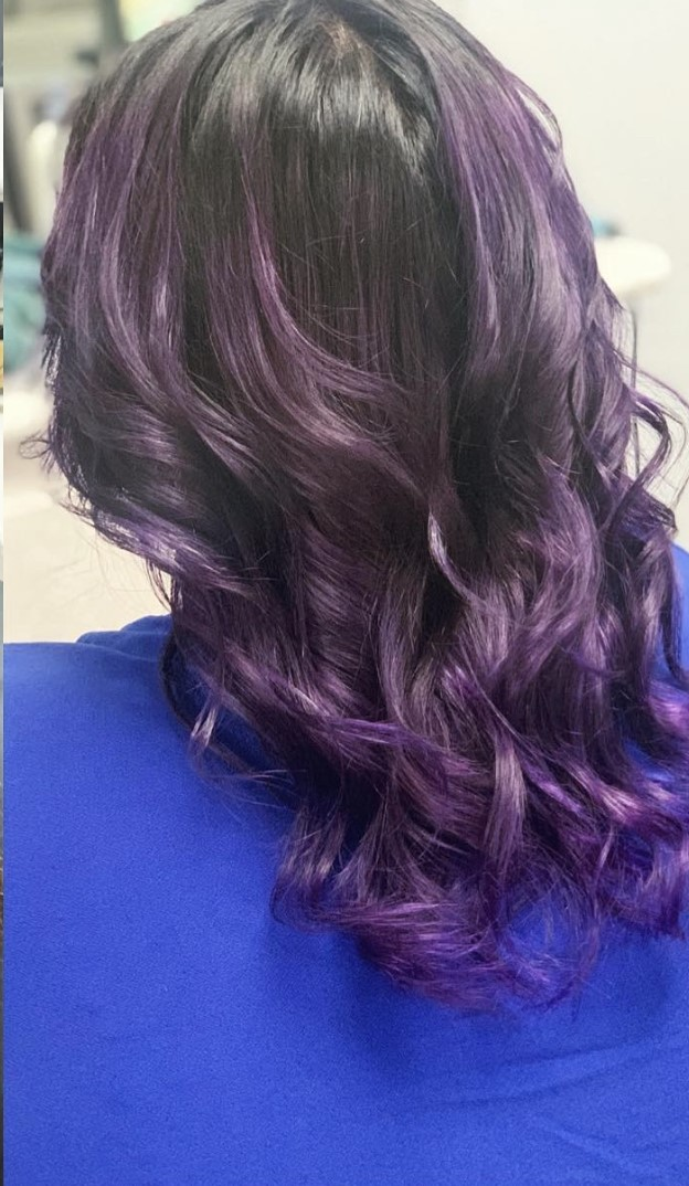black and purple balayage by kayla
