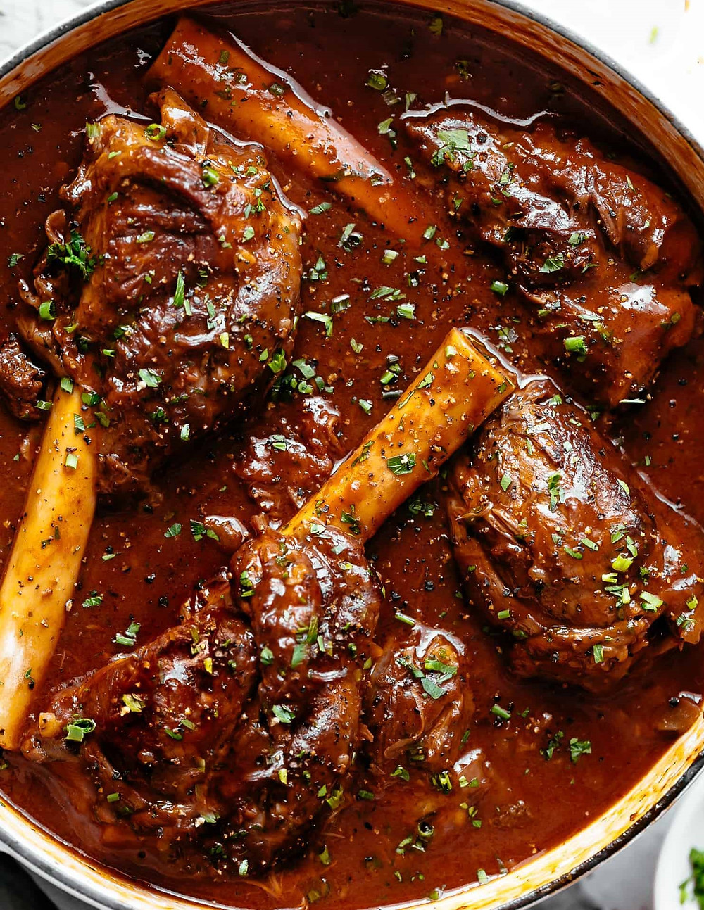 lamb shank in stew pot