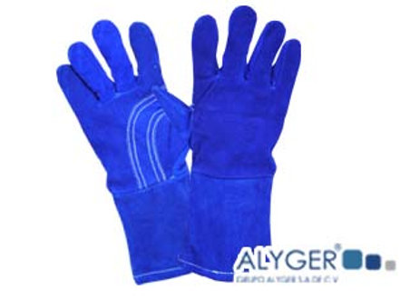 Guante de soldador azul hilo algodon
