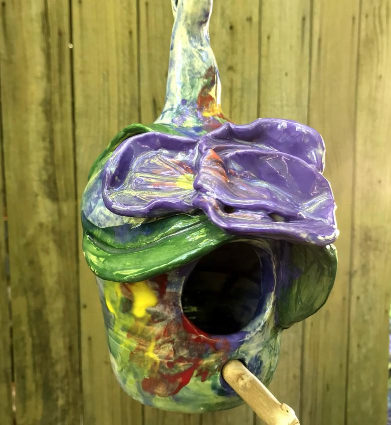 Louisiana Iris Bird House