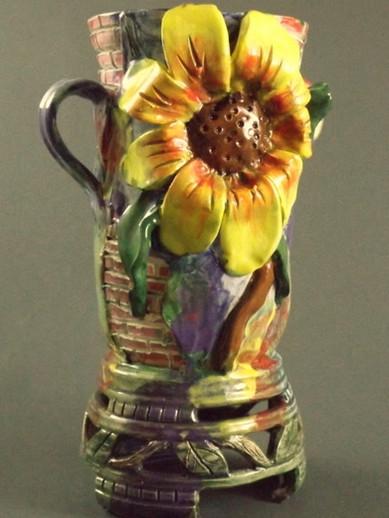 Single Sunflower Vase with Brickwork