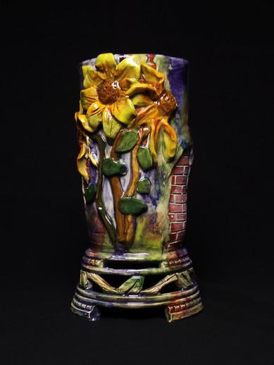 Sunflower Vase with Brickwork