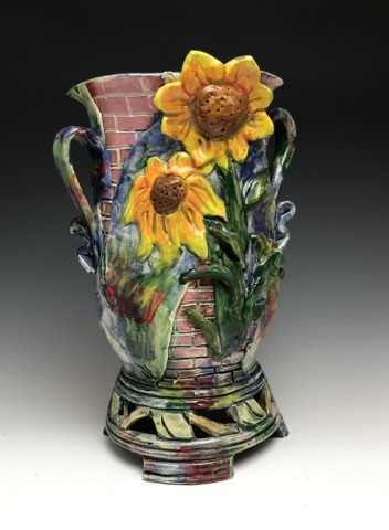 Sunflower Vase with Brickwork