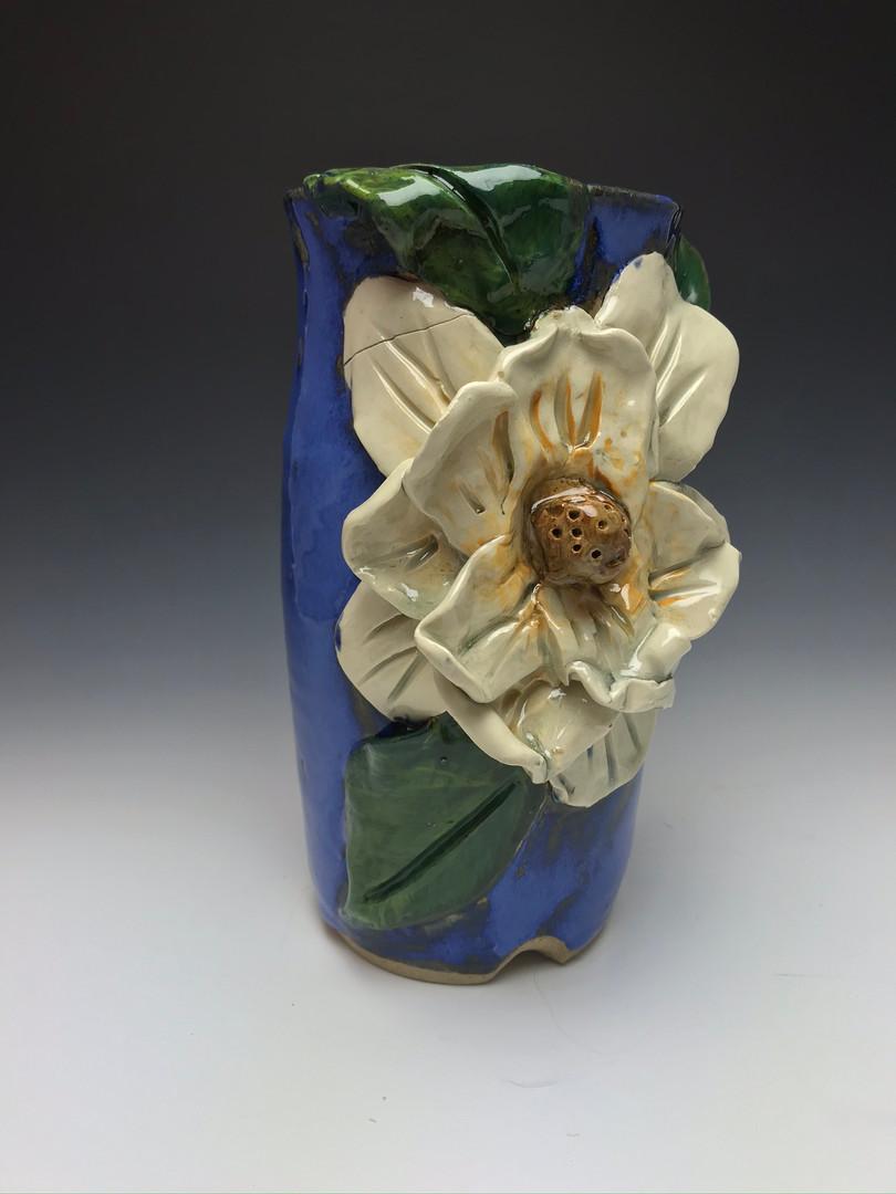 Blue Stoneware & Porcelain Magnolia Vase