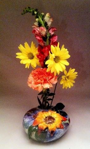 Inkebana Vase with Sunflower