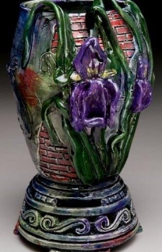 Iris Duet Vase with Brickwork