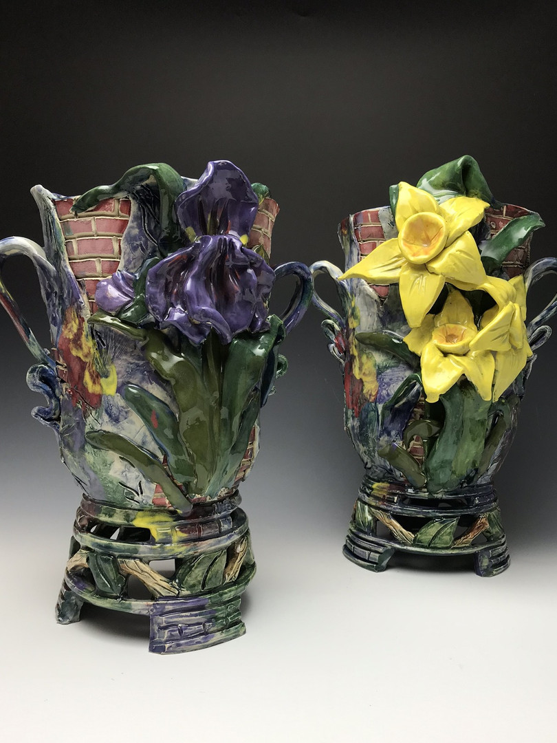 Louisiana Iris & Daffodil Vases with brickwork