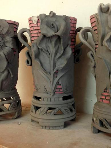 Vases drying