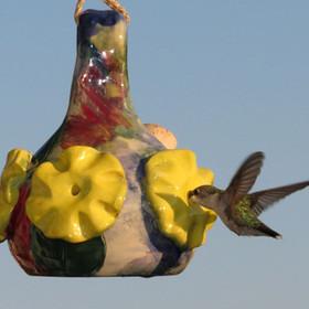 closerl Large Yellow Flower Hummingbird