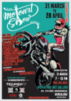 Motorcycle event poster for India's first art exhibition featuring motorcycle paintings and sculpture.