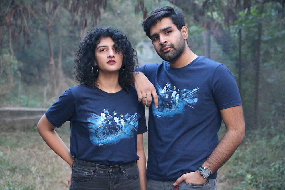 Himalayan Water Crossing motorcycle art tshirt