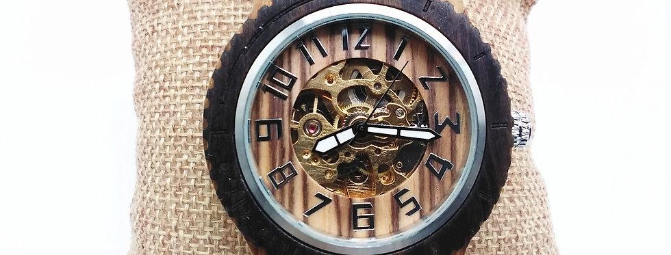 Zebra wood ebony wooden mechanical watch