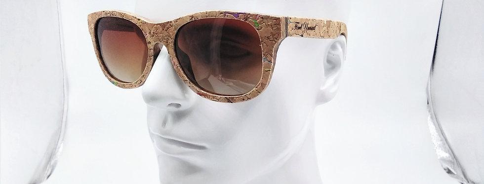 Square wooden sunglasses cork design
