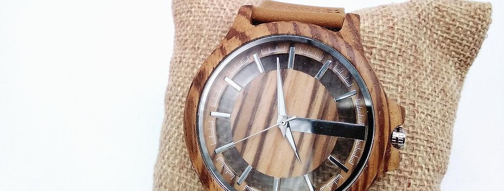 Zebra wood round watch
