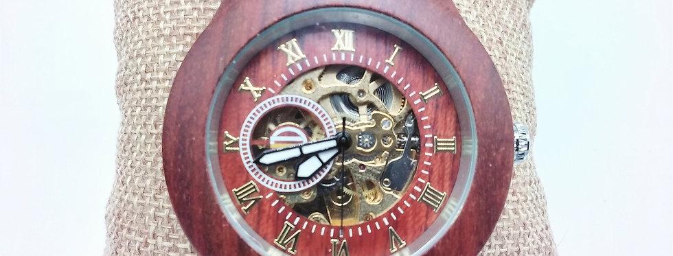 Rose wooden mechanical watch