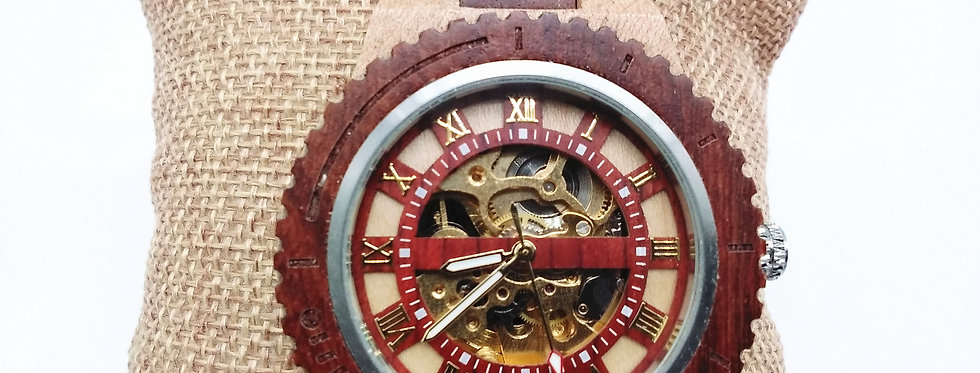 Rosewood maple wooden mechanical watch