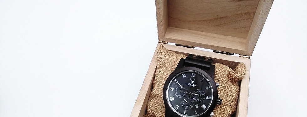 Ebony wood watch with metal mixed strap