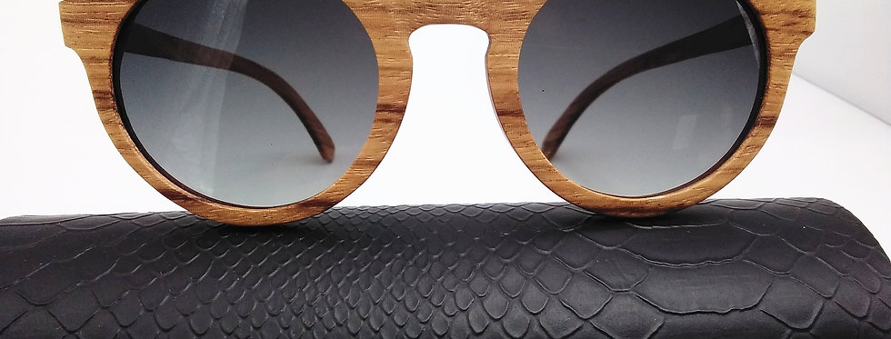 Round Sunglasses Zebra Wood Design