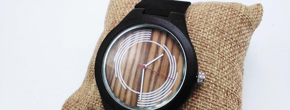 Ebony wood watch leather strap