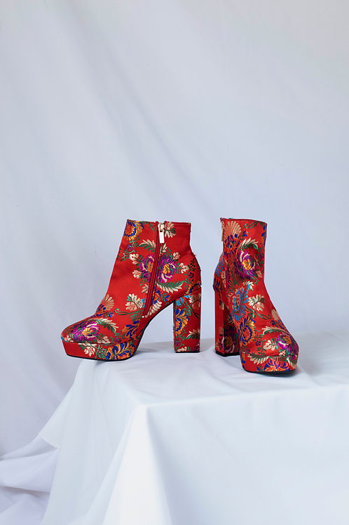 RED EMBROIDERED BOOTS