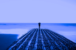 Blue man ocean